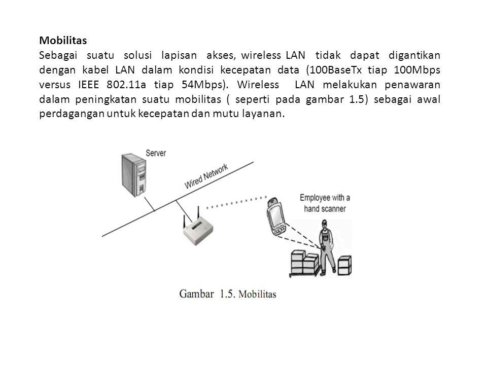 Mobilitas Sebagai suatu solusi lapisan akses, wireless LAN tidak dapat digantikan dengan kabel LAN dalam kondisi kecepatan data (100BaseTx tiap 100Mbp