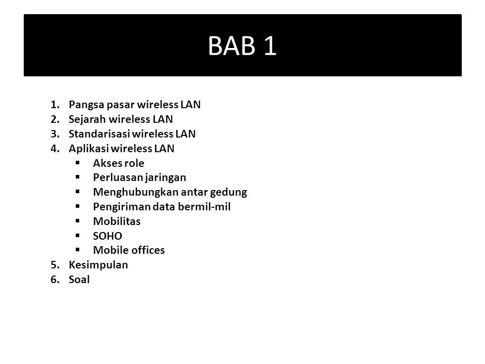 BAB 1 1.Pangsa pasar wireless LAN 2.Sejarah wireless LAN 3.Standarisasi wireless LAN 4.Aplikasi wireless LAN  Akses role  Perluasan jaringan  Mengh