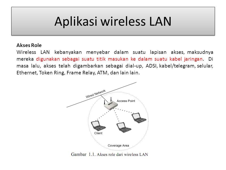 Aplikasi wireless LAN Akses Role Wireless LAN kebanyakan menyebar dalam suatu lapisan akses, maksudnya mereka digunakan sebagai suatu titik masukan ke