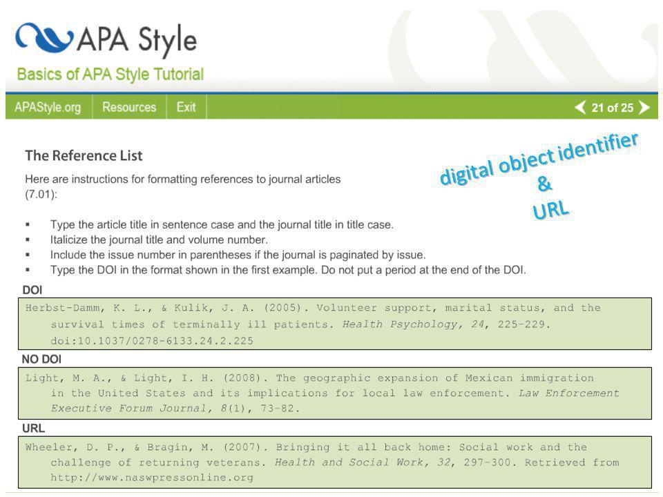 digital object identifier &URL