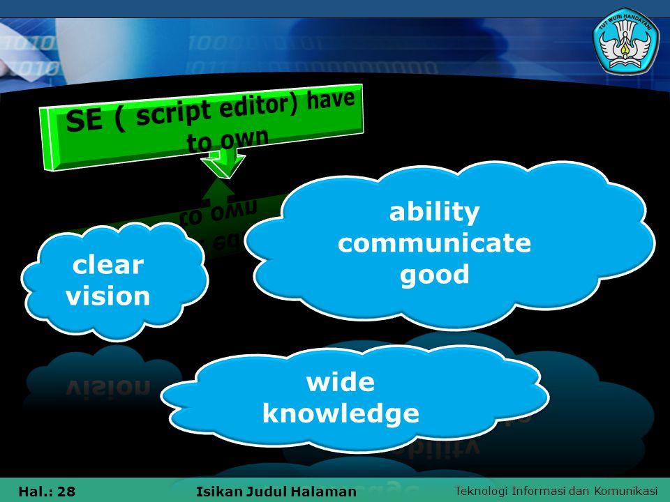 Teknologi Informasi dan Komunikasi Hal.: 28Isikan Judul Halaman