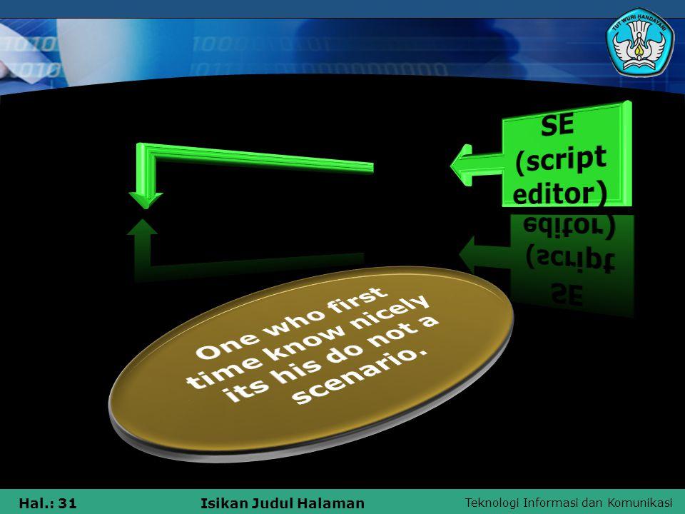 Teknologi Informasi dan Komunikasi Hal.: 31Isikan Judul Halaman