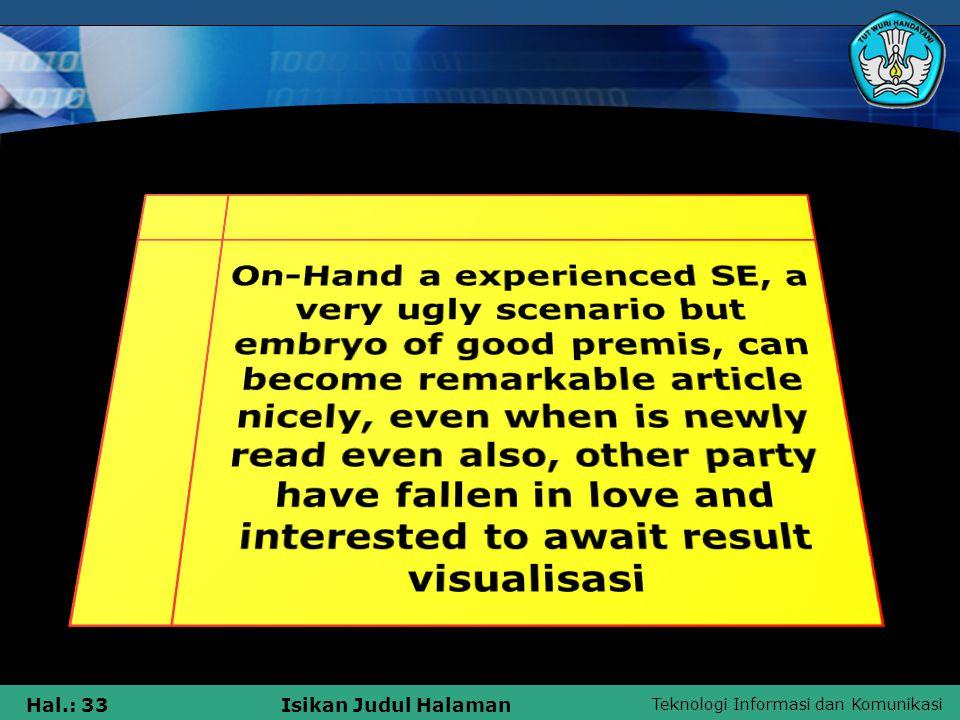 Teknologi Informasi dan Komunikasi Hal.: 33Isikan Judul Halaman