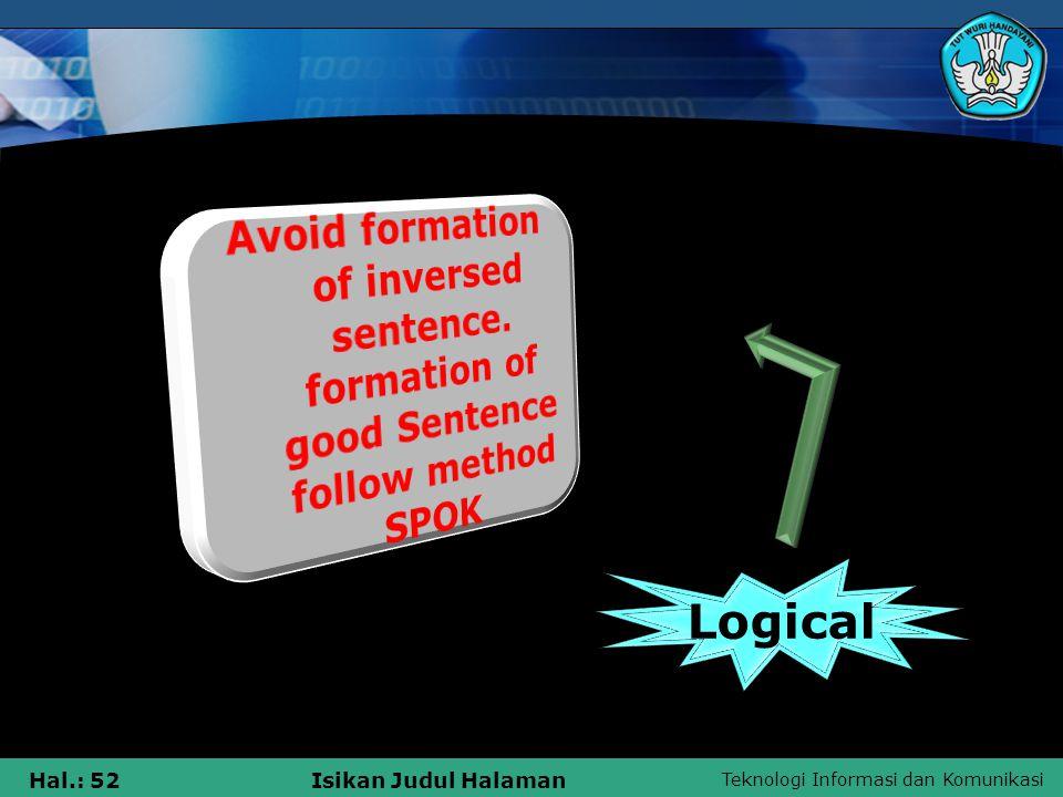 Teknologi Informasi dan Komunikasi Hal.: 52Isikan Judul Halaman Logical