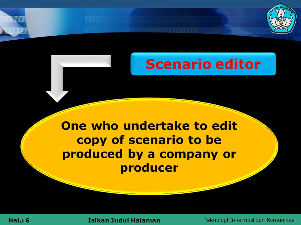 Teknologi Informasi dan Komunikasi Hal.: 6Isikan Judul Halaman Scenario editor One who undertake to edit copy of scenario to be produced by a company