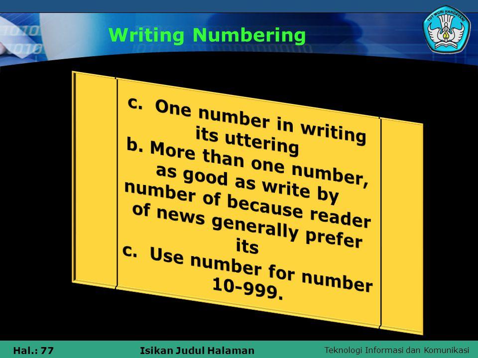 Teknologi Informasi dan Komunikasi Hal.: 77Isikan Judul Halaman Writing Numbering