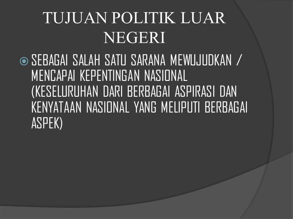 KEGUNAAN POLITIK LUAR NEGERI SSEBAGAI PENYAMBUNG KEHENDAK NASIONAL KE DALAM DUNIA INTERNASIONAL SSEBAGAI PENEGAK IDENTITAS DAN INTEGRITAS NASIONAL