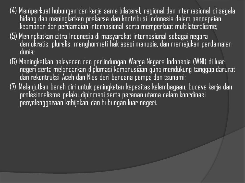 """Kepentingan nasional Indonesia diterjemahkan kedalam visi Departemen luar negeri yang disebut sebagai """"Sapta Dharma Caraka"""", (1) Memelihara dan mening"""