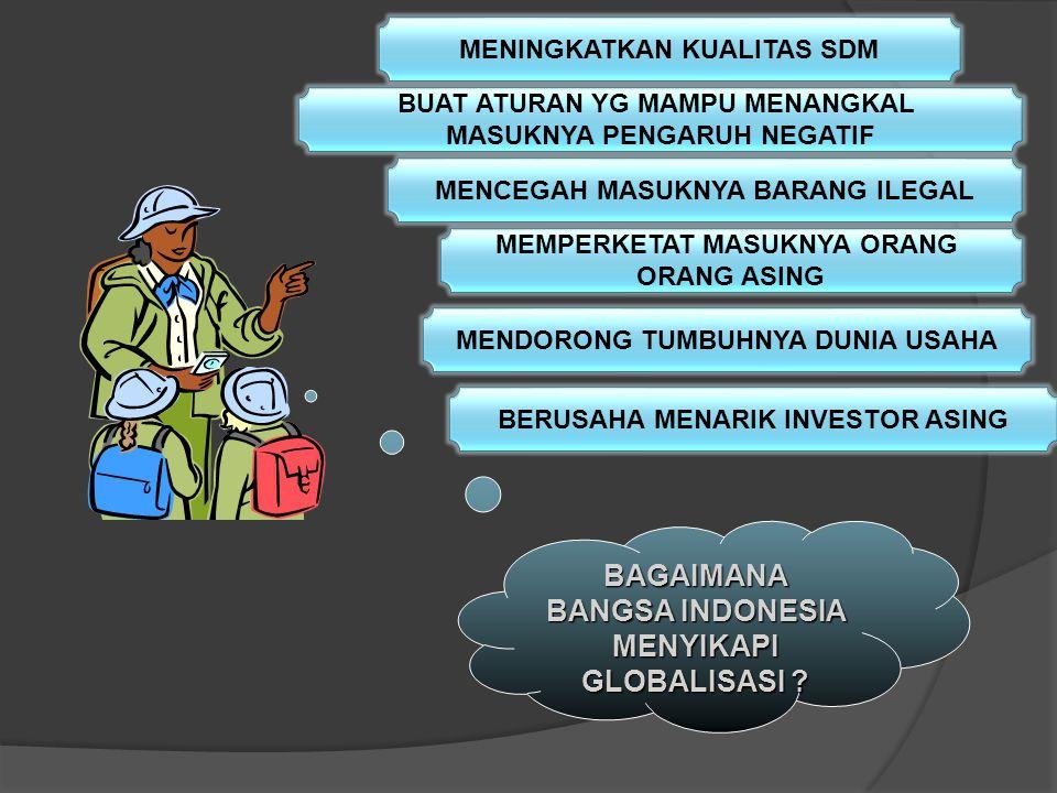 GLOBALISASI BAGI BAGI BANGSA INDONESIA DAMPAK POSITIP DAMPAK NEGATIF EKSPOR LUAS DAGANG LEBIH TERBUKA TIMBUL BUDAYA BARU DLM HIDUP TAK DIKUCILKAN DUNI