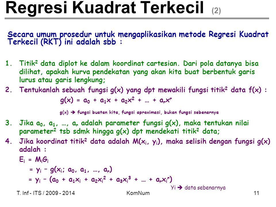 T. Inf - ITS / 2009 - 2014KomNum11 Regresi Kuadrat Terkecil (2) Secara umum prosedur untuk mengaplikasikan metode Regresi Kuadrat Terkecil (RKT) ini a
