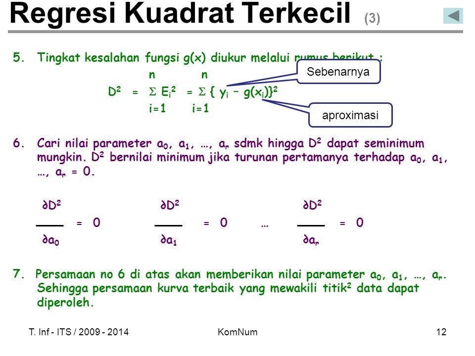 T. Inf - ITS / 2009 - 2014KomNum12 Regresi Kuadrat Terkecil (3) 5.Tingkat kesalahan fungsi g(x) diukur melalui rumus berikut : n n D 2 =  E i 2 =  {