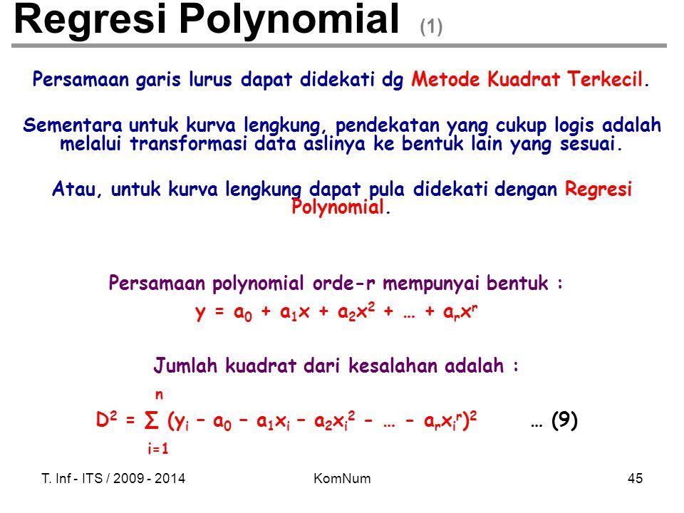 T. Inf - ITS / 2009 - 2014KomNum45 Regresi Polynomial (1) Persamaan garis lurus dapat didekati dg Metode Kuadrat Terkecil. Sementara untuk kurva lengk