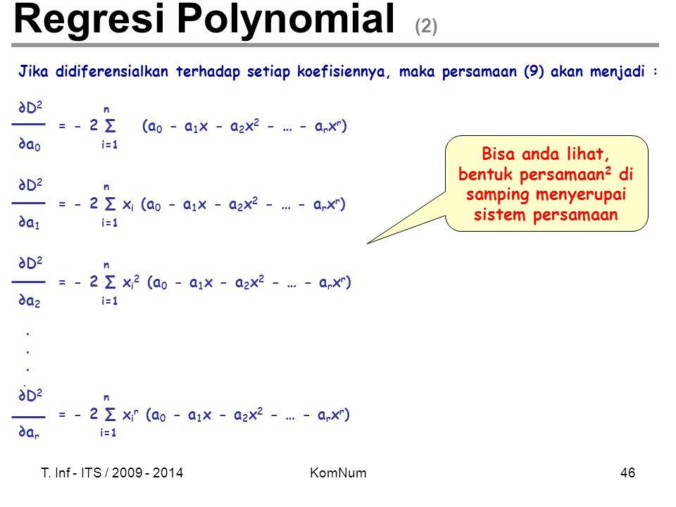 T. Inf - ITS / 2009 - 2014KomNum46 Regresi Polynomial (2) Jika didiferensialkan terhadap setiap koefisiennya, maka persamaan (9) akan menjadi : ∂D 2 n