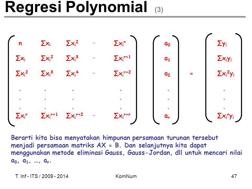 T. Inf - ITS / 2009 - 2014KomNum47 Regresi Polynomial (3) n ∑x i ∑x i 2 … ∑x i r a 0 ∑y i ∑x i ∑x i 2 ∑x i 3 … ∑x i r+1 a 1 ∑x i y i ∑x i 2 ∑x i 3 ∑x