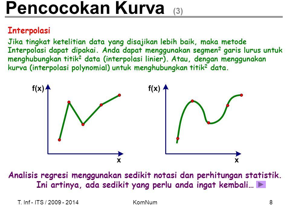 T. Inf - ITS / 2009 - 2014KomNum8 Pencocokan Kurva (3) Interpolasi Jika tingkat ketelitian data yang disajikan lebih baik, maka metode Interpolasi dap