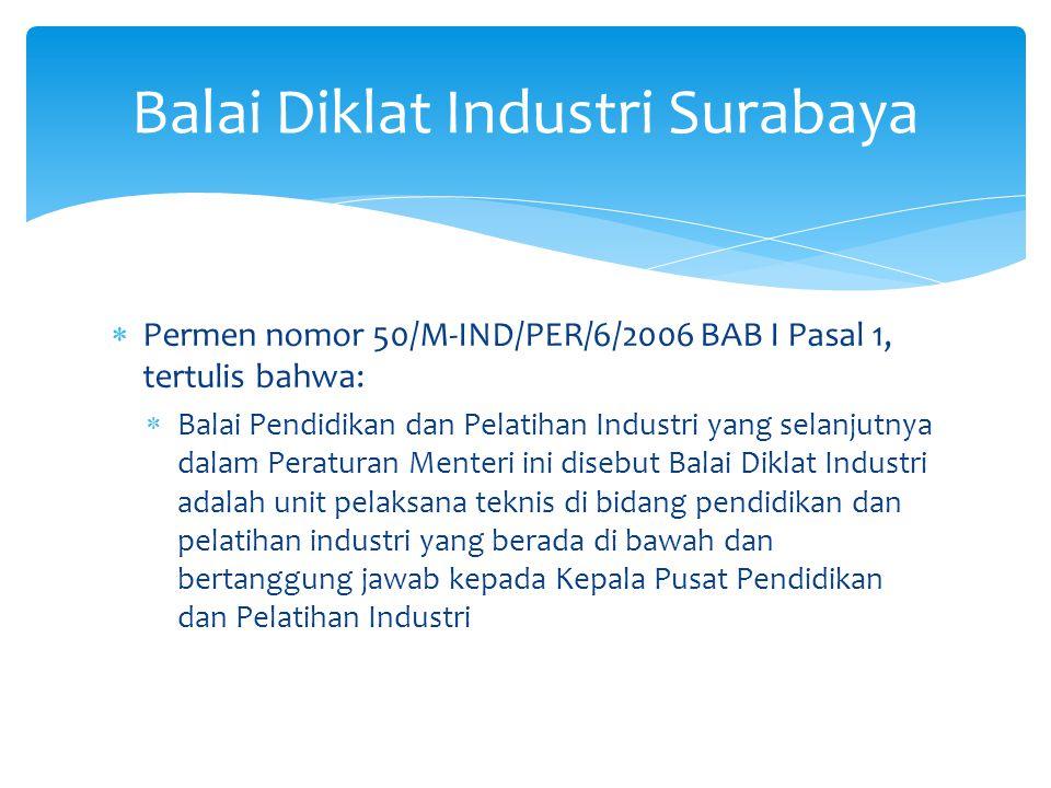  Permen nomor 50/M-IND/PER/6/2006 BAB I Pasal 1, tertulis bahwa:  Balai Pendidikan dan Pelatihan Industri yang selanjutnya dalam Peraturan Menteri ini disebut Balai Diklat Industri adalah unit pelaksana teknis di bidang pendidikan dan pelatihan industri yang berada di bawah dan bertanggung jawab kepada Kepala Pusat Pendidikan dan Pelatihan Industri Balai Diklat Industri Surabaya