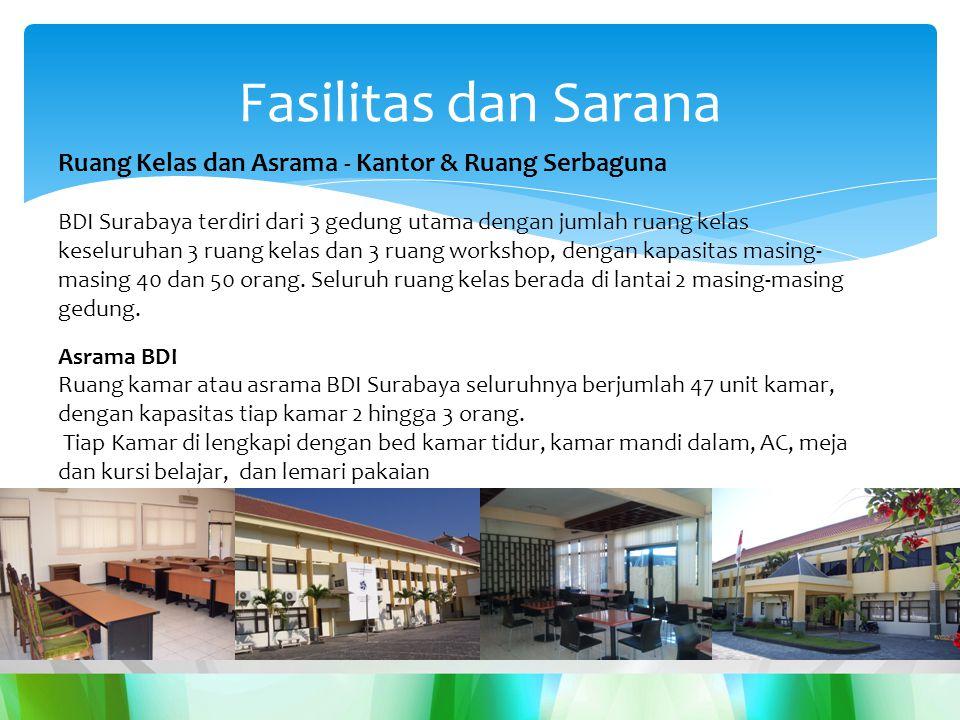 Ruang Kelas dan Asrama - Kantor & Ruang Serbaguna BDI Surabaya terdiri dari 3 gedung utama dengan jumlah ruang kelas keseluruhan 3 ruang kelas dan 3 ruang workshop, dengan kapasitas masing- masing 40 dan 50 orang.