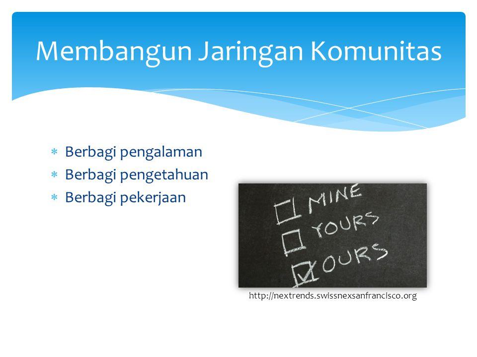  Berbagi pengalaman  Berbagi pengetahuan  Berbagi pekerjaan Membangun Jaringan Komunitas http://nextrends.swissnexsanfrancisco.org