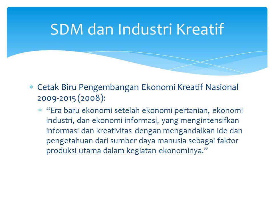 """ Cetak Biru Pengembangan Ekonomi Kreatif Nasional 2009-2015 (2008):  """"Era baru ekonomi setelah ekonomi pertanian, ekonomi industri, dan ekonomi info"""
