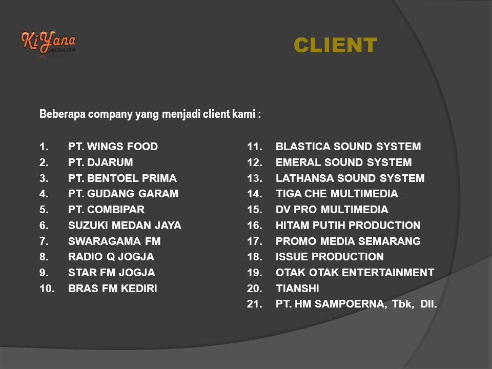 CLIENT Beberapa company yang menjadi client kami : 1.PT.