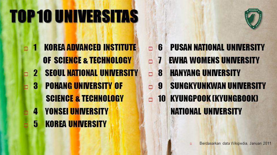 TOP 10 UNIVERSITAS  1 KOREA ADVANCED INSTITUTE OF SCIENCE & TECHNOLOGY  2 SEOUL NATIONAL UNIVERSITY  3 POHANG UNIVERSITY OF SCIENCE & TECHNOLOGY  4 YONSEI UNIVERSITY  5 KOREA UNIVERSITY  Berdasarkan data Wikipedia, Januari 2011  6 PUSAN NATIONAL UNIVERSITY  7 EWHA WOMENS UNIVERSITY  8 HANYANG UNIVERSITY  9 SUNGKYUNKWAN UNIVERSITY  10 KYUNGPOOK (KYUNGBOOK) NATIONAL UNIVERSITY
