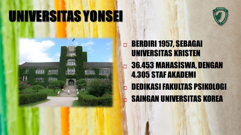 UNIVERSITAS YONSEI  BERDIRI 1957, SEBAGAI UNIVERSITAS KRISTEN  36.453 MAHASISWA, DENGAN 4.305 STAF AKADEMI  DEDIKASI FAKULTAS PSIKOLOGI  SAINGAN UNIVERSITAS KOREA