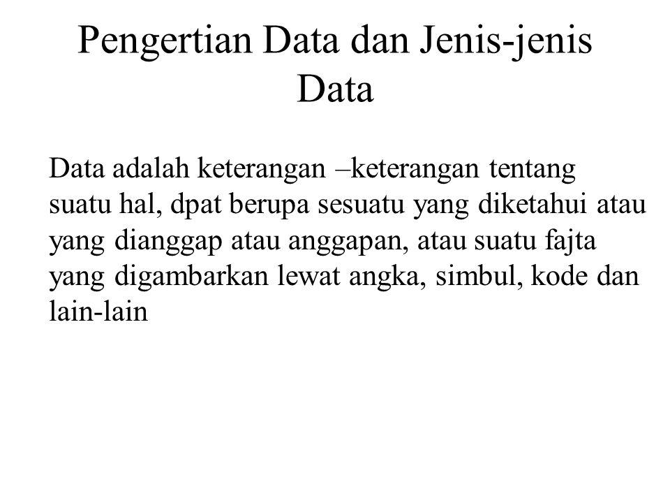 Pengertian Data dan Jenis-jenis Data Data adalah keterangan –keterangan tentang suatu hal, dpat berupa sesuatu yang diketahui atau yang dianggap atau