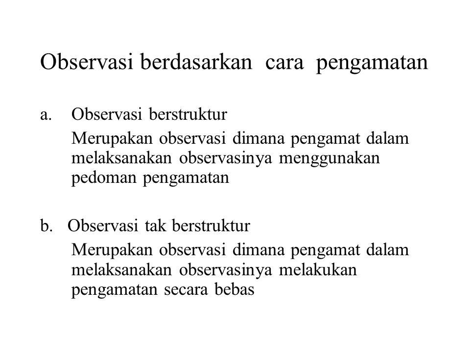 Observasi berdasarkan cara pengamatan a.Observasi berstruktur Merupakan observasi dimana pengamat dalam melaksanakan observasinya menggunakan pedoman