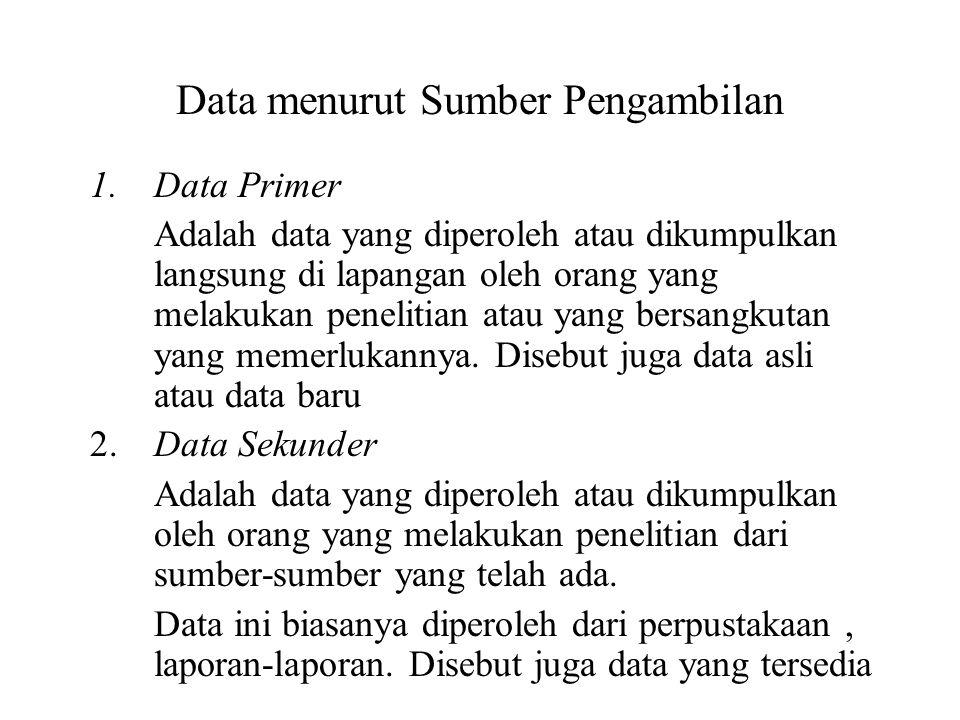 Data menurut Sumber Pengambilan 1.Data Primer Adalah data yang diperoleh atau dikumpulkan langsung di lapangan oleh orang yang melakukan penelitian at