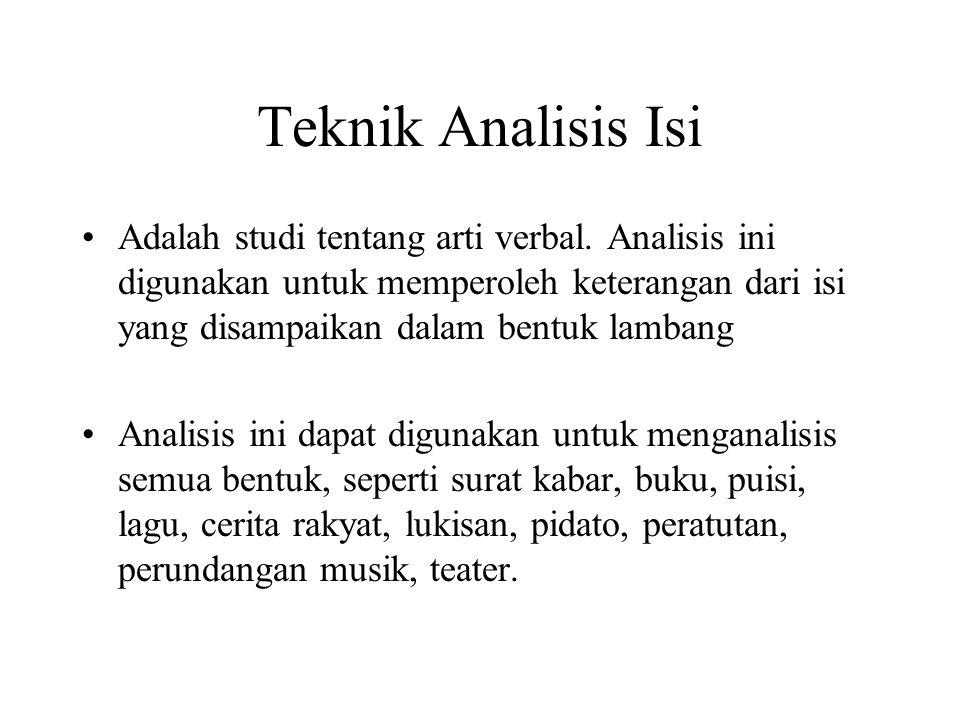 Teknik Analisis Isi •Adalah studi tentang arti verbal. Analisis ini digunakan untuk memperoleh keterangan dari isi yang disampaikan dalam bentuk lamba