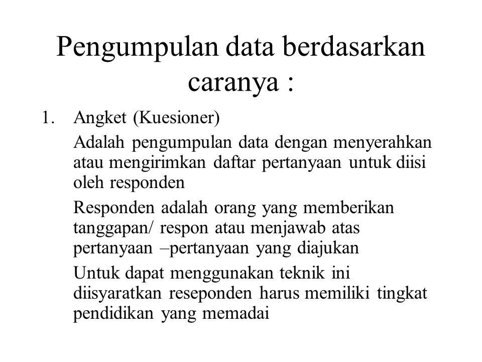 Pengumpulan data berdasarkan caranya : 1.Angket (Kuesioner) Adalah pengumpulan data dengan menyerahkan atau mengirimkan daftar pertanyaan untuk diisi