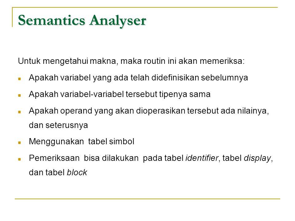 Semantics Analyser Untuk mengetahui makna, maka routin ini akan memeriksa:  Apakah variabel yang ada telah didefinisikan sebelumnya  Apakah variabel