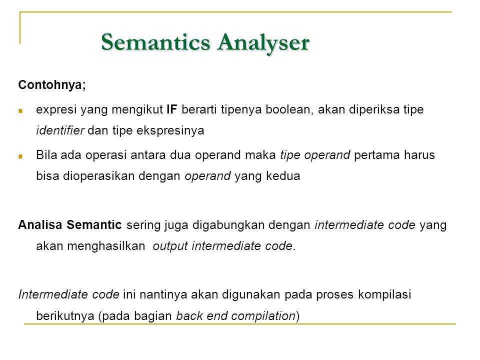 Semantics Analyser Contohnya;  expresi yang mengikut IF berarti tipenya boolean, akan diperiksa tipe identifier dan tipe ekspresinya  Bila ada opera