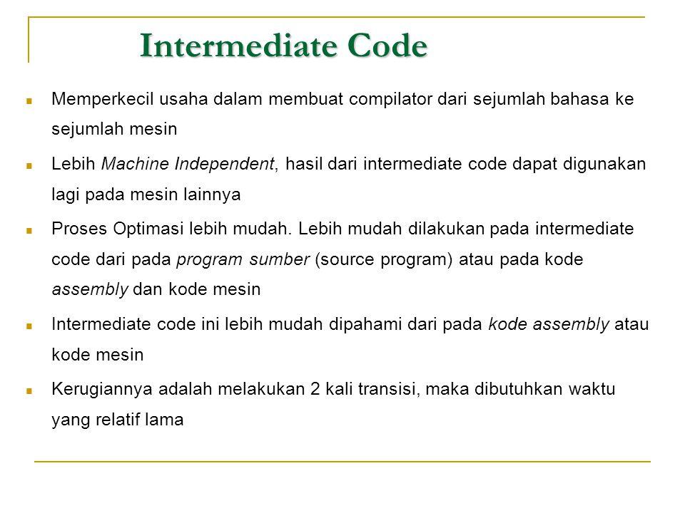 Intermediate Code  Memperkecil usaha dalam membuat compilator dari sejumlah bahasa ke sejumlah mesin  Lebih Machine Independent, hasil dari intermed