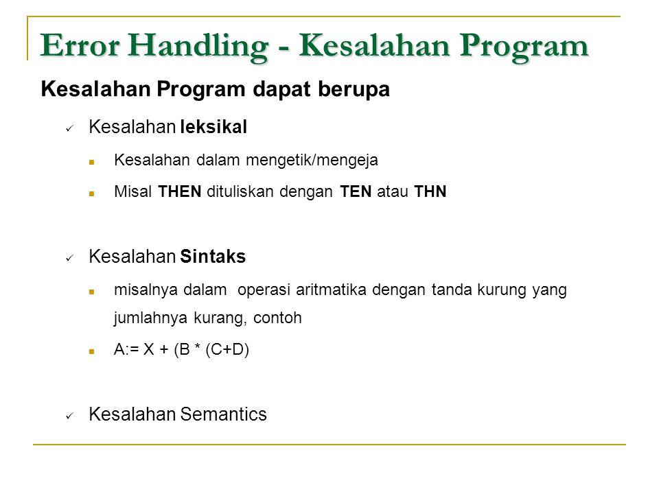 Error Handling - Kesalahan Program Kesalahan Program dapat berupa  Kesalahan leksikal  Kesalahan dalam mengetik/mengeja  Misal THEN dituliskan deng