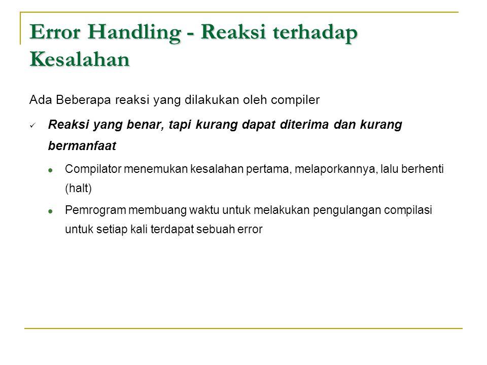 Error Handling - Reaksi terhadap Kesalahan Ada Beberapa reaksi yang dilakukan oleh compiler  Reaksi yang benar, tapi kurang dapat diterima dan kurang
