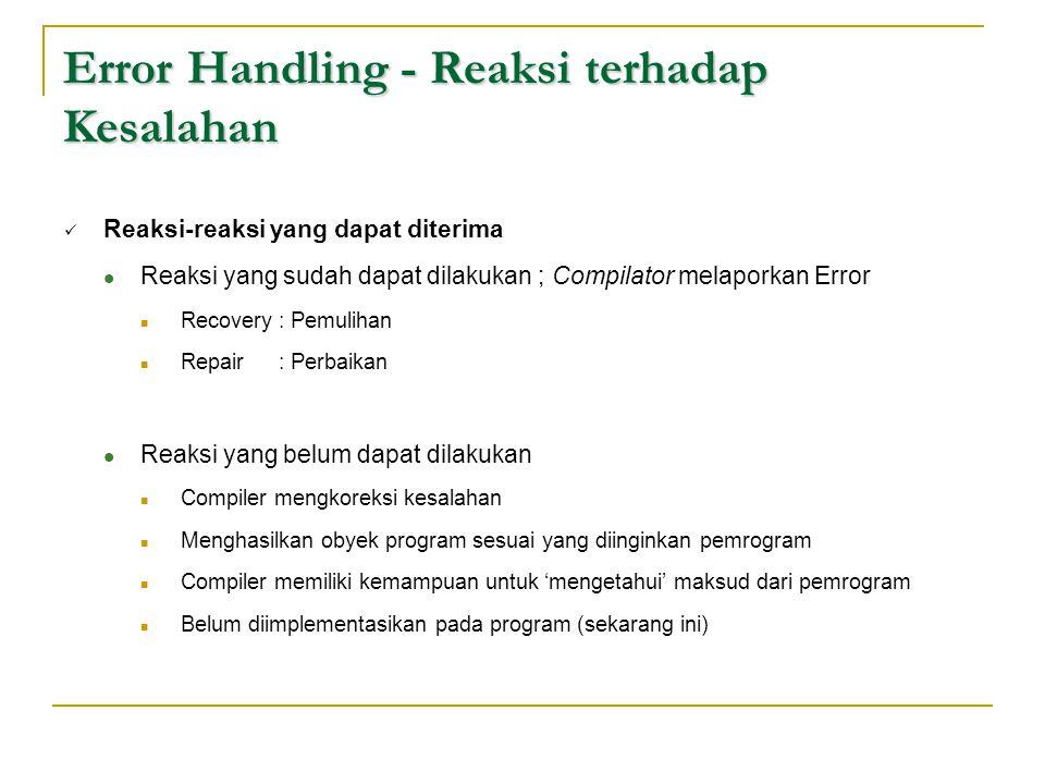 Error Handling - Reaksi terhadap Kesalahan  Reaksi-reaksi yang dapat diterima  Reaksi yang sudah dapat dilakukan ; Compilator melaporkan Error  Rec