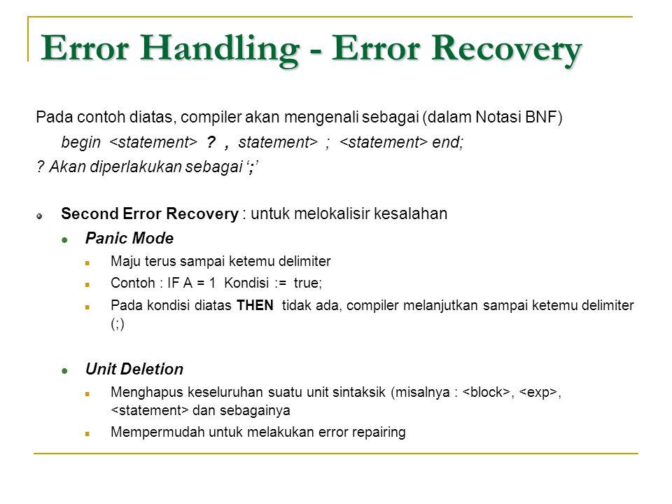 Error Handling - Error Recovery Pada contoh diatas, compiler akan mengenali sebagai (dalam Notasi BNF) begin ?, statement> ; end; ? Akan diperlakukan