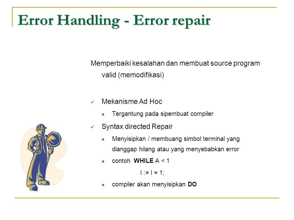 Error Handling - Error repair Memperbaiki kesalahan dan membuat source program valid (memodifikasi)  Mekanisme Ad Hoc  Tergantung pada sipembuat com