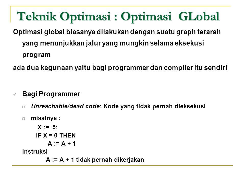 Teknik Optimasi : Optimasi GLobal Optimasi global biasanya dilakukan dengan suatu graph terarah yang menunjukkan jalur yang mungkin selama eksekusi pr