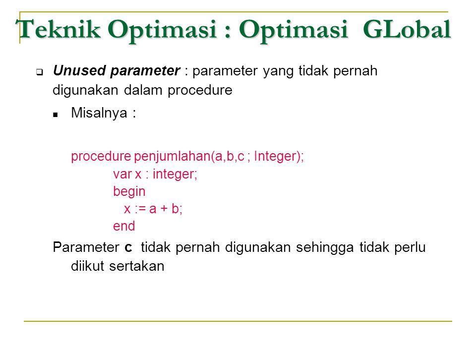 Teknik Optimasi : Optimasi GLobal  Unused parameter : parameter yang tidak pernah digunakan dalam procedure  Misalnya : procedure penjumlahan(a,b,c