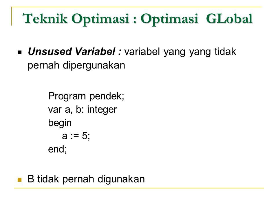 Teknik Optimasi : Optimasi GLobal  Unsused Variabel : variabel yang yang tidak pernah dipergunakan Program pendek; var a, b: integer begin a := 5; en