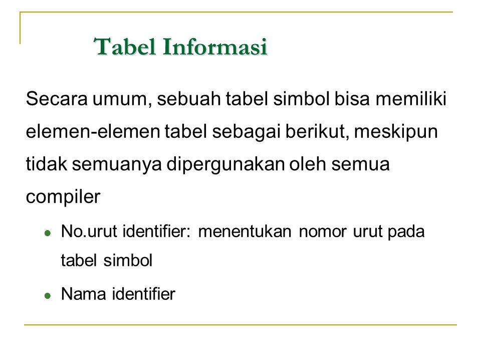 Tabel Informasi Secara umum, sebuah tabel simbol bisa memiliki elemen-elemen tabel sebagai berikut, meskipun tidak semuanya dipergunakan oleh semua co