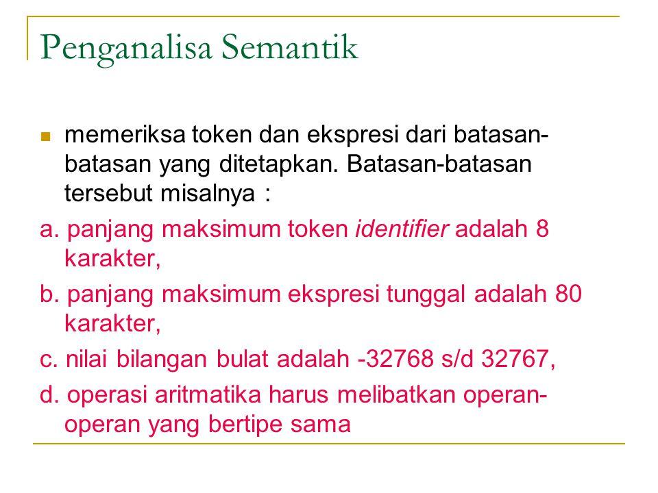 Penganalisa Semantik  memeriksa token dan ekspresi dari batasan- batasan yang ditetapkan. Batasan-batasan tersebut misalnya : a. panjang maksimum tok
