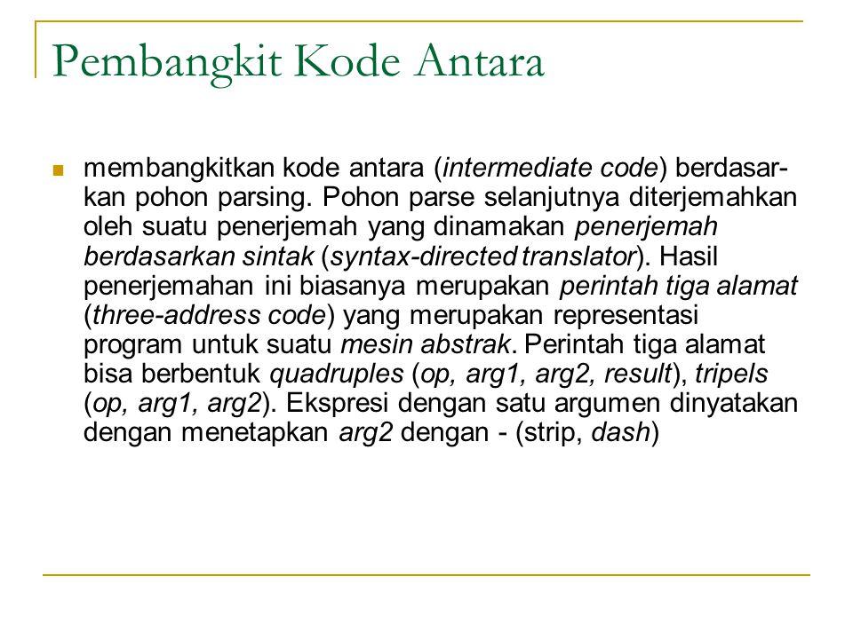 Pembangkit Kode Antara  membangkitkan kode antara (intermediate code) berdasar- kan pohon parsing. Pohon parse selanjutnya diterjemahkan oleh suatu p