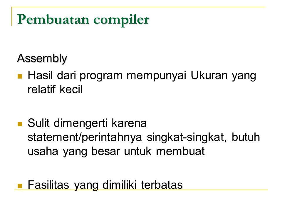 Pembuatan compiler Assembly  Hasil dari program mempunyai Ukuran yang relatif kecil  Sulit dimengerti karena statement/perintahnya singkat-singkat,