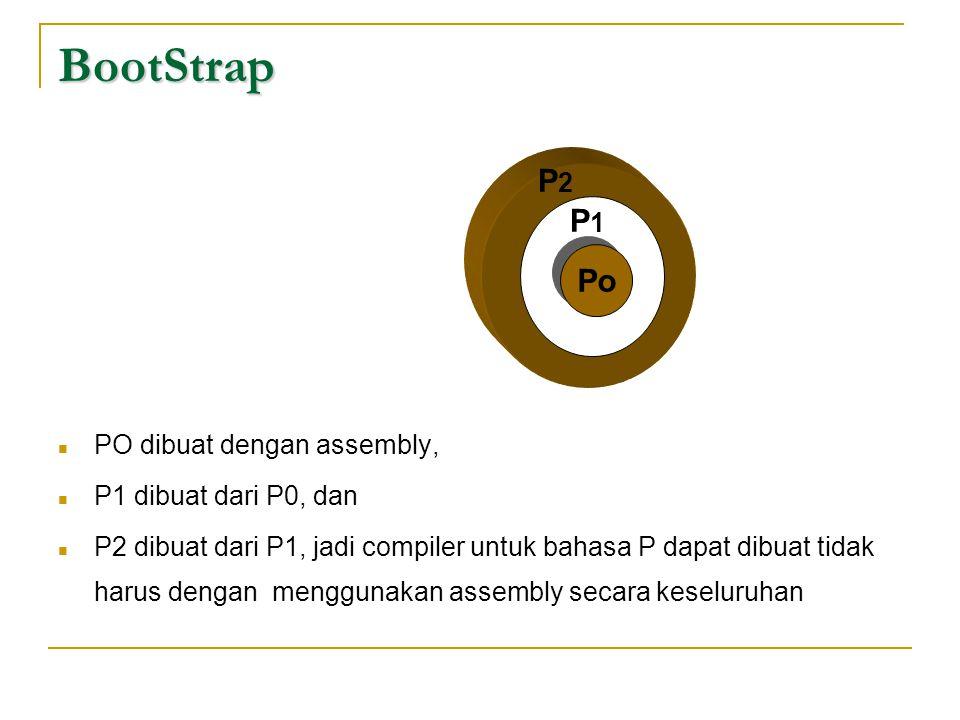 BootStrap  PO dibuat dengan assembly,  P1 dibuat dari P0, dan  P2 dibuat dari P1, jadi compiler untuk bahasa P dapat dibuat tidak harus dengan meng
