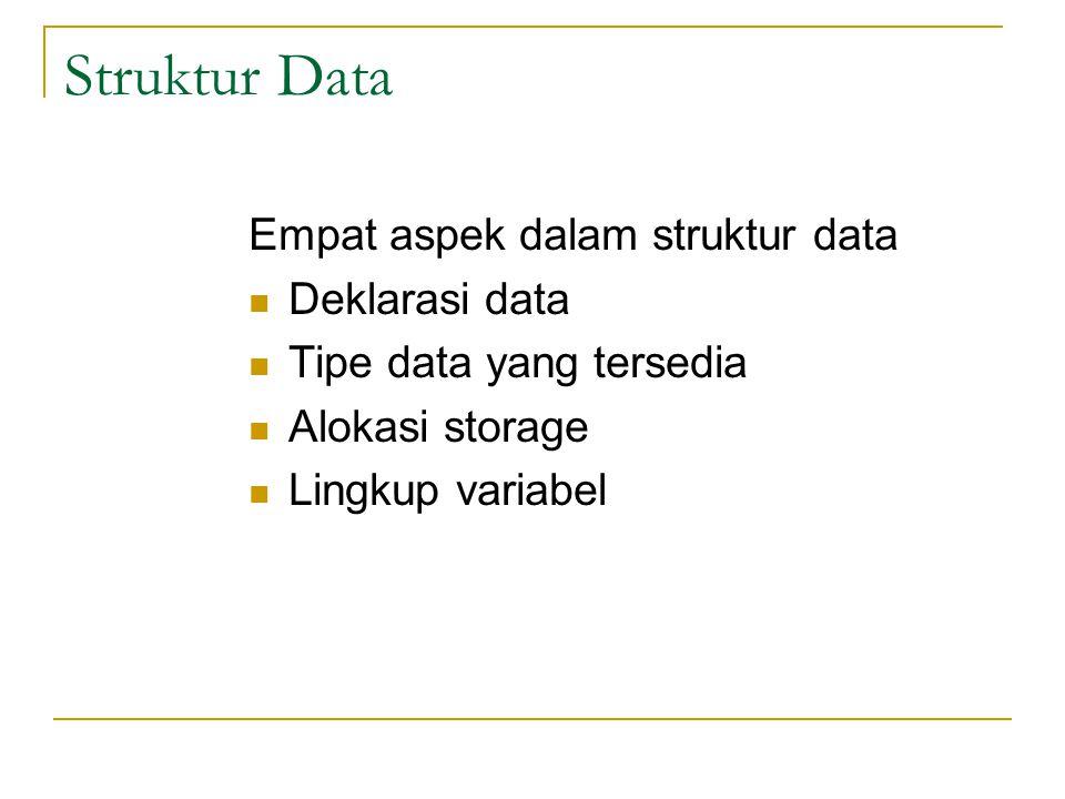 Struktur Data Empat aspek dalam struktur data  Deklarasi data  Tipe data yang tersedia  Alokasi storage  Lingkup variabel