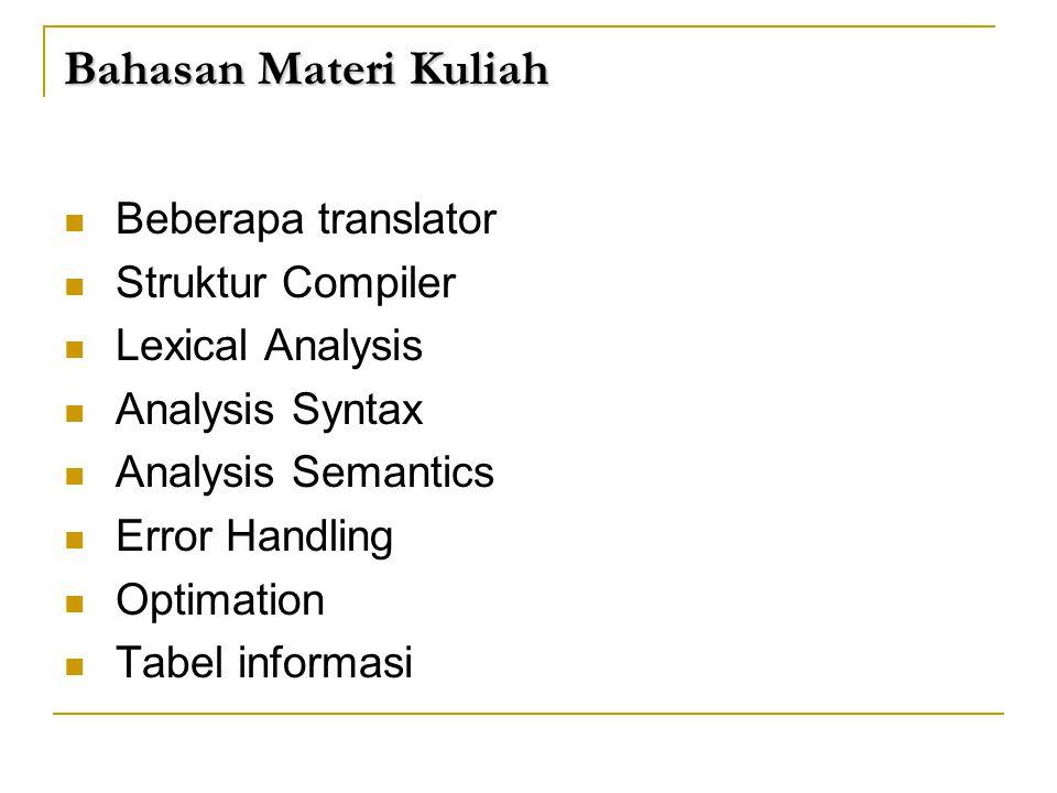 Bahasan Materi Kuliah  Beberapa translator  Struktur Compiler  Lexical Analysis  Analysis Syntax  Analysis Semantics  Error Handling  Optimatio