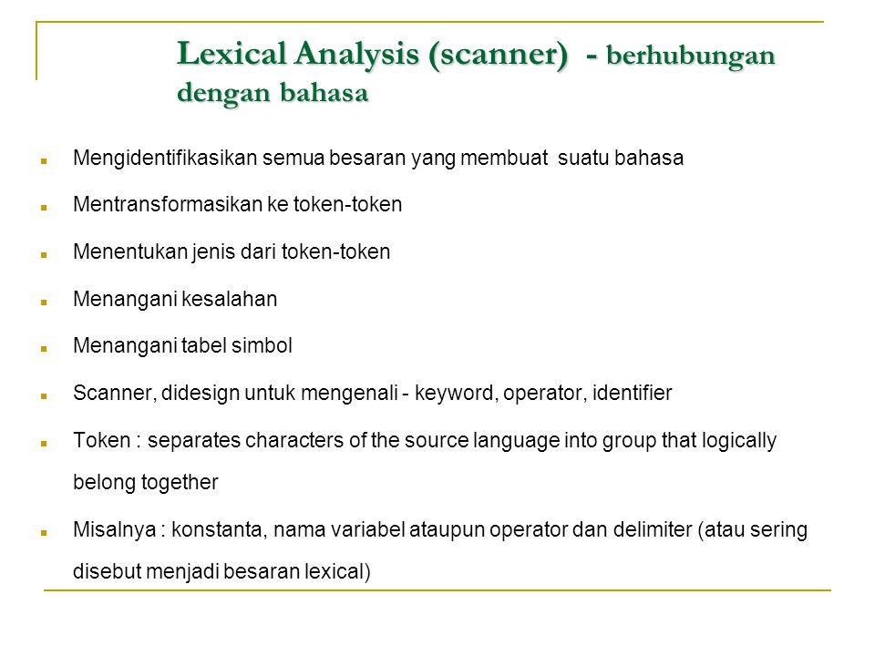 Lexical Analysis (scanner) - berhubungan dengan bahasa  Mengidentifikasikan semua besaran yang membuat suatu bahasa  Mentransformasikan ke token-tok